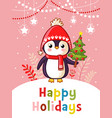 christmas greeting card with cute penguin vector image vector image