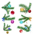 Christmas tree branches with Christmas balls vector image vector image