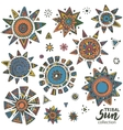 collection graphic doodle suns vector image vector image