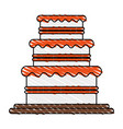 color crayon stripe image wedding cake with cream vector image vector image