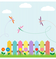 Colorful fence with flowers and dragonflies vector | Price: 1 Credit (USD $1)