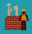 construction worker with under construction icons vector image vector image