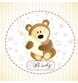 cute brown bear hiding by blanket vector image vector image