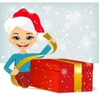cute little girl wrapping present vector image vector image