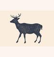 deer silhouette vintage logo retro print vector image vector image