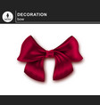 elegant red bow vector image