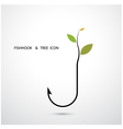 Fishhook Logo and Small Tree Icon vector image