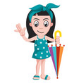 girl with umbrella on white background vector image vector image