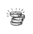 gold coin doodle sketch style icon stack of vector image