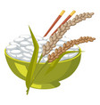 green bowl with rice and chopsticks near its ears vector image vector image