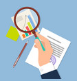 hand with magnifying glass vector image vector image
