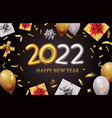 happy new 2022 year banner with realistic golden vector image