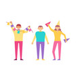 happy people birthday party isolated white vector image vector image