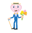 heart as gentleman with walking stick vector image vector image