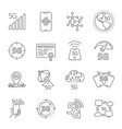 icons set on theme 5th generation 5g mobile vector image