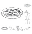 isolated object of pizza and food icon collection vector image vector image