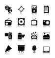 Multimedia Icons with reflection vector image vector image