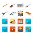 musical instrument cartoonflat icons in set vector image