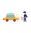 open car and mechanic with giant wrench vector image vector image