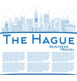 outline hague netherlands city skyline with vector image vector image