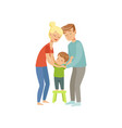 parents embracing their son mother and father vector image