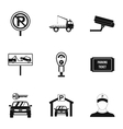 Parking station icons set simple style vector image vector image