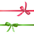 polka dot bow with ribbon vector image vector image