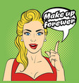 pop art beautiful woman face vector image