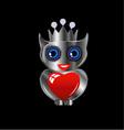 Pretty silver owl with a red heart and a crown vector image vector image