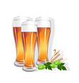 realistic glass with beer vector image vector image