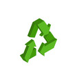 recycling sign green recast symbol running emblem vector image