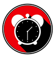 red round with black shadowwhite alarm clock icon vector image