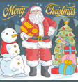 santa claus and snow ball vector image vector image