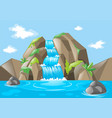 scene with waterfall and mountains vector image