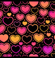 seamless background red different hearts vector image
