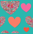 seamless pattern with red ornated mosaic hearts vector image