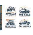 set four off-road suv car monochrome labels vector image vector image