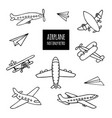 set of airplanes hand-drawn vector image vector image