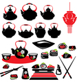 Set of asian food icons - teapot sushi vector image