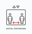 social distancing flat line icon outline vector image