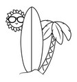 summer and beach cartoons in black and white vector image vector image