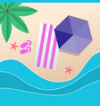 summer beach umbrella purple beach mat background vector image vector image
