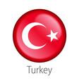 turkey round button flag vector image