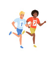 two guys running marathon young men in sportswear vector image