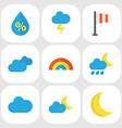 weather flat icons set collection of bow vector image vector image