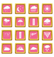 weather set icons pink vector image vector image