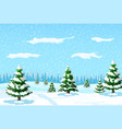 winter landscape with white pine trees on snow vector image vector image