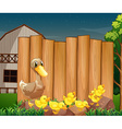 Wooden sign and ducks in the farm vector image vector image