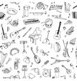 Music Instruments Background - Seamless Pattern vector image