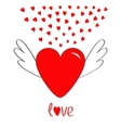 Red heart with wings Cute cartoon contour sign vector image